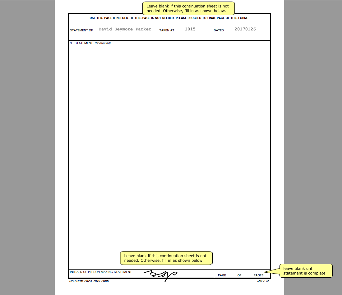 Fill out DA Form 2823, Page 2