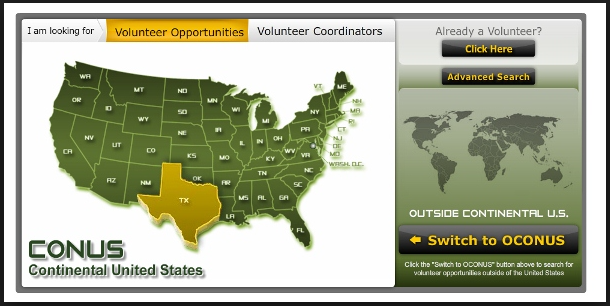 screen capture of Volunteer Management Information System (VMIS)