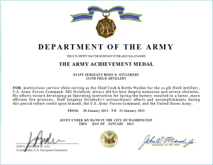 Award Citation Examples http://www.armywriter.com/army-achievement-medal.htm