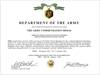 Army award and decoration examples for Air force decoration citation