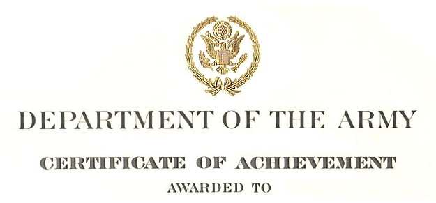 Superb Certificate Of Achievement Citation Examples Inside Army Certificate Of Achievement Template