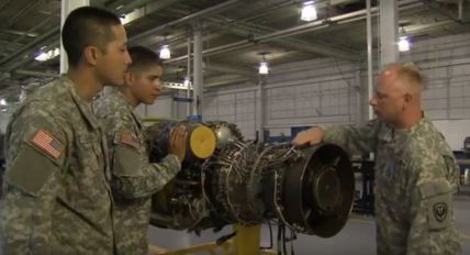 Picture of Soldiers in Training on Aircraft Engine