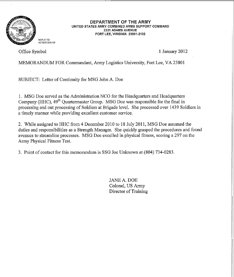 Letter of Continuity Example – Army Memo Template