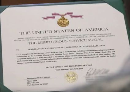 Meritorious Service Medal Citation
