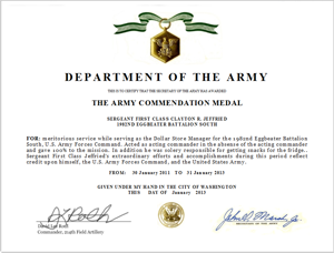Army Commendation Medal certificate